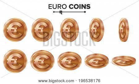 Money. Euro 3D Copper Coins Vector Set. Realistic Illustration. Flip Different Angles. Money Front Side. Investment Concept. Finance Coin Icons, Sign, Success Banking Cash Symbol