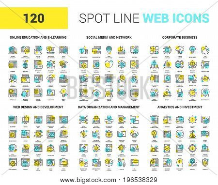 Vector set of 120 spot line web icons on following themes - online education, social media and network, corporate business, web design and development, data management, analytics and investment