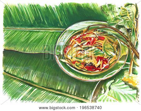 Thai food painting is Papaya Slad in glass dish favorite herbal for health diet have eat with vegetable lemon cabbage morning glory on banana leaf.