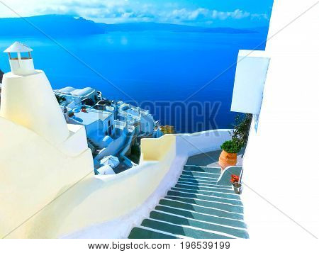 View to the sea from stairs in Oia the most beautiful village of Santorini island in Greece