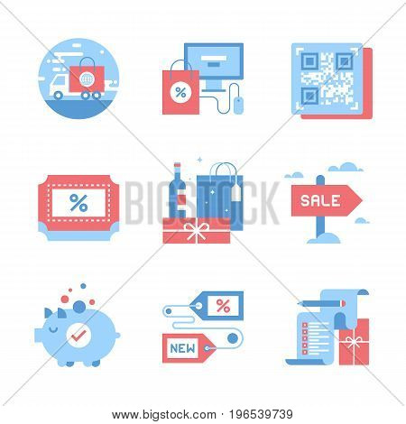 Vector set of flat shopping and commerce icons. Icon pack includes following themes - delivery, ecommerce, QR code, discount, holidays shopping, for sale, savings, new product, wish list
