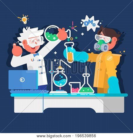 Laboratory assistants work in scientific medical chemical or biological laboratory. Flat vector illustration