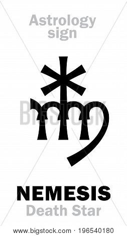 Astrology Alphabet: NEMESIS (Death Star), hypothetic super-distance sinister star-satellite of Sun. Hieroglyphics character sign (single symbol).