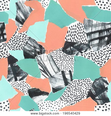 Abstract paper collage of retro 80's Memphis fashion patterns with turquoise and peach colors. Seamless repeat.