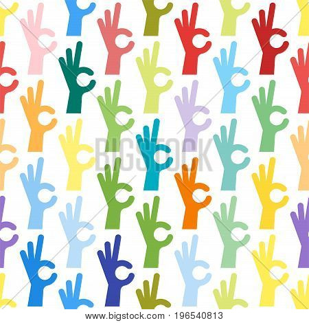 Ok hands success gesture and okey yes agreement signal seamless pattern human agree best approval accept. Silhouette of human body part showing symbol of all ok vector character.