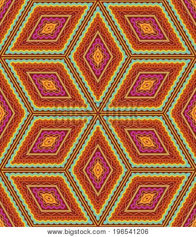 Seamless (easy to repeat) geometric pattern (or background, wallpaper, print, swatch) of autumn colors