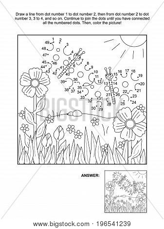 Connect the dots picture puzzle and coloring page, spring or summer joy themed, with butterflies, flowers, grass. Answer included.