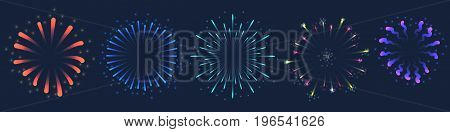 Set of Vector colorful Firework illustration, can be used on dark background only
