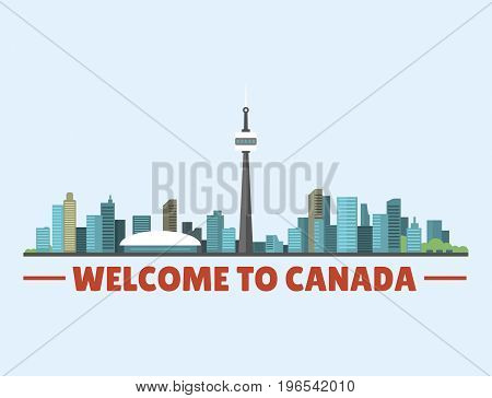 Welcome to Canada city downtown buildings silhouette canadian cityscape vector illustration. Scenic panorama beautiful tower architecture building landscape urban tourism.
