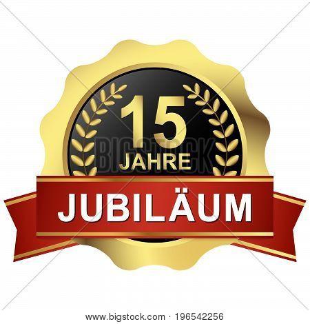 Button 15 Years Jubilee (in German)