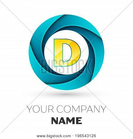 Realistic Letter D vector logo symbol in the colorful circle on white background. Vector template for your design