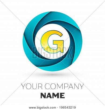 Realistic Letter G vector logo symbol in the colorful circle on white background. Vector template for your design