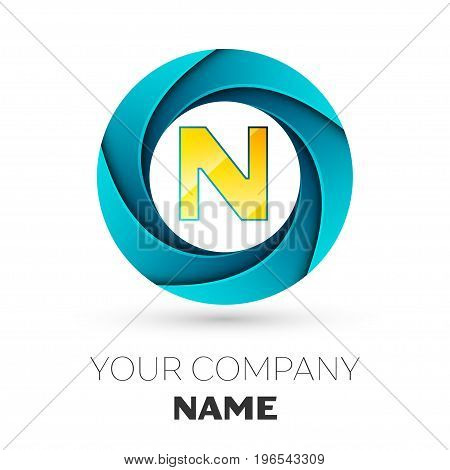Realistic Letter N vector logo symbol in the colorful circle on white background. Vector template for your design
