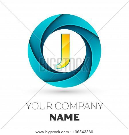 Realistic Letter J vector logo symbol in the colorful circle on white background. Vector template for your design