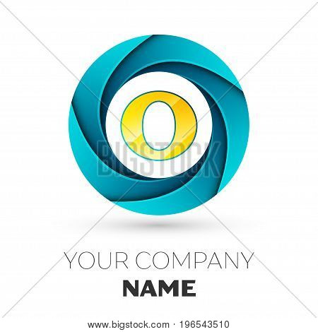 Realistic Letter O vector logo symbol in the colorful circle on white background. Vector template for your design