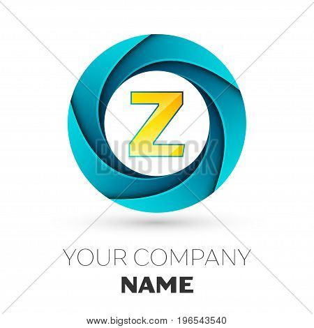 Realistic Letter Z vector logo symbol in the colorful circle on white background. Vector template for your design