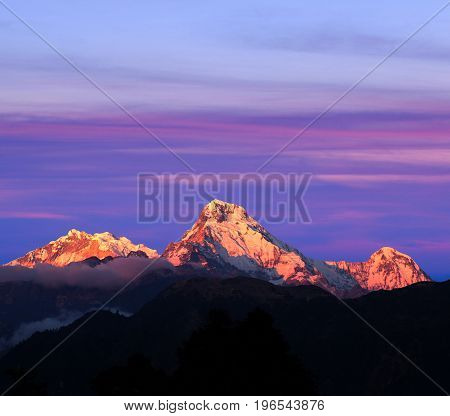Panorama Of Mount Annapurna South - View From Poon Hill On Annapurna Circuit Trek, Nepal