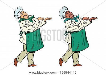 African and Caucasian chef holding hand gesture. Pop art retro comic book vector illustration