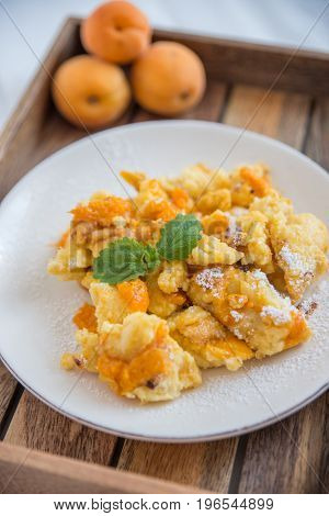 Home made Traditional austrian kaiserschmarrn with apricots