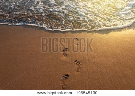 beach wave and footsteps at sunset time in summer