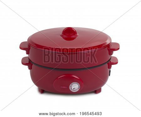Electric pan and steaming pot isolated on white background