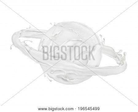 Abstract splashes of milk or cream. Conceptual image in the form of the planet Saturn isolated on white background