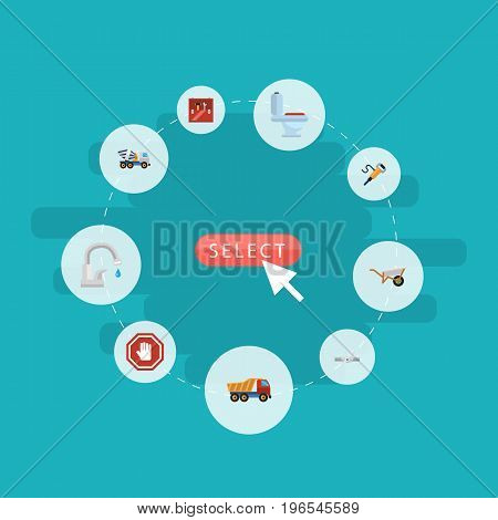 Flat Icons Cement Blender, Restroom, Pipeline Valve And Other Vector Elements