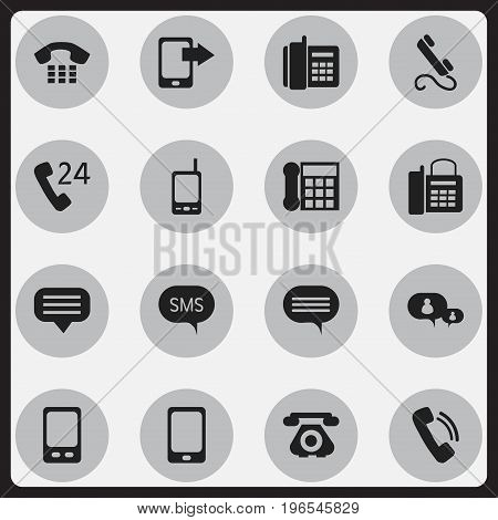 Set Of 16 Editable Device Icons. Includes Symbols Such As Radio Talkie, Smartphone, Retro Telecommunication And More