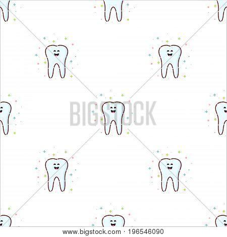 Seamless pattern with smiling cartoon tooth characters on white background. Oral dental hygiene. Teeth whitening and restoration. Dental health symbol. Human body medical concept. Vector illustration.