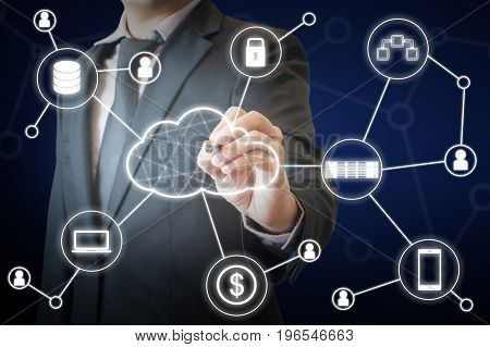 Professional Businessman Touching Virtual Screen On A Digital Interface To Connected Cloud Computing