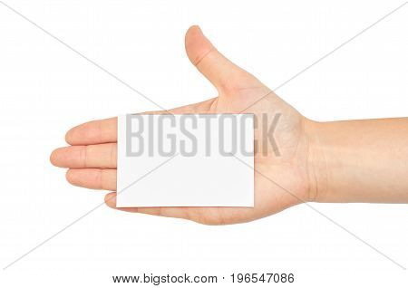 Female Hands Hold A Business Card. Isolated On White Background