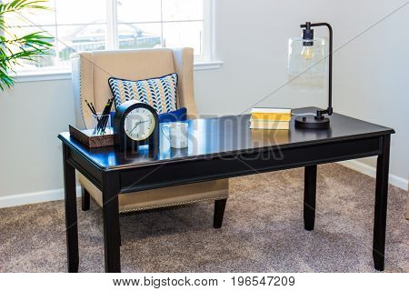 Modern Writing Table With High Back Chair