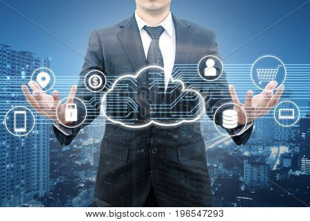 Double Exposure Of Professional Businessman Connected And Presented Cloud Technology And Internet Of