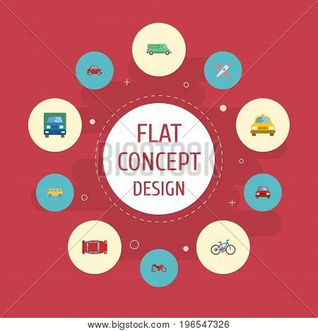 Flat Icons Truck, Aircraft, Automotive And Other Vector Elements