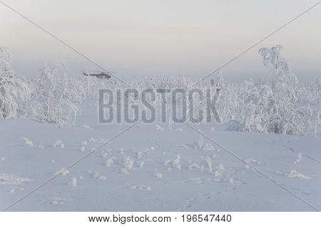 New Urengoy, YaNAO, North of Russia. Helicopter UTair and Konvers avia  in the local airport on the service. January 06, 2017