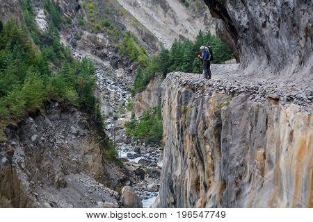 View of the Trekker on Annapurna circuit in Nepal