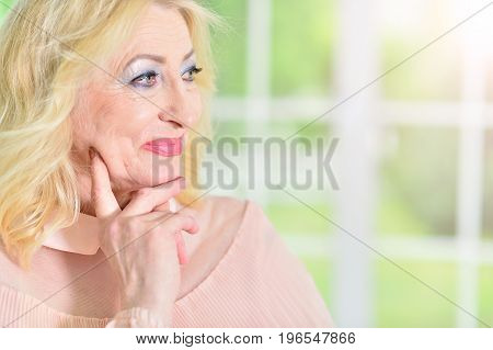 Close up portrait of beautiful mature woman