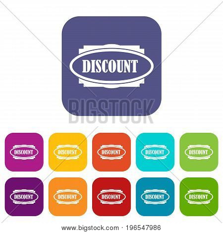 Discount oval label icons set vector illustration in flat style in colors red, blue, green, and other