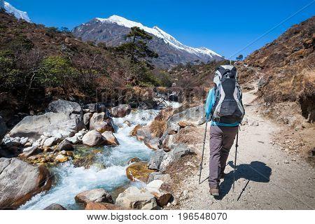 Trekker approaching Renjo La pass on a way to Everest Base camp