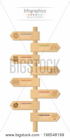 Infographic design elements for your business data with 8 options parts steps timelines or processes. Wood sign concept Vector Illustration.