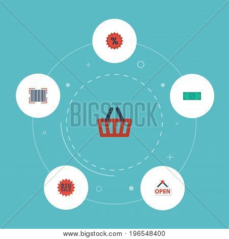 Flat Icons Bag, Cash, Qr And Other Vector Elements