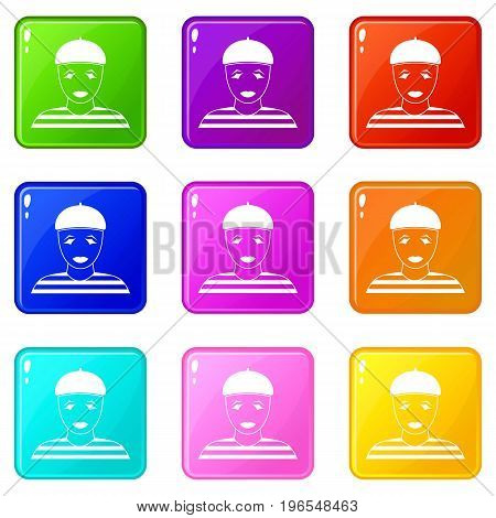 Clown icons of 9 color set isolated vector illustration