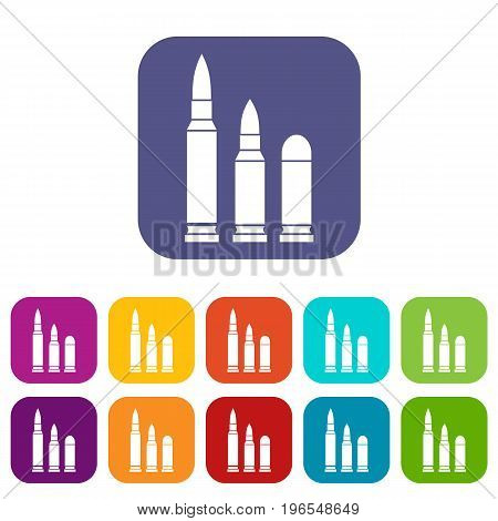Bullets icons set vector illustration in flat style in colors red, blue, green, and other