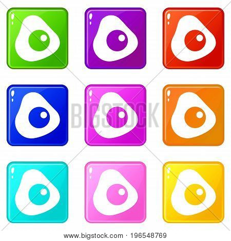 Fried egg icons of 9 color set isolated vector illustration