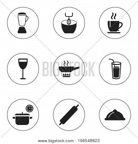 Set Of 9 Editable Kitchen Icons. Includes Symbols Such As Goblet, Coffee, Dough And More