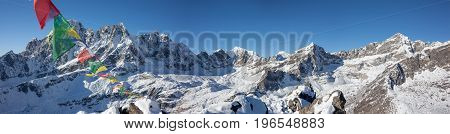 Great panoramic view to Renjo La pass in the Khumbu Valley in Nepal