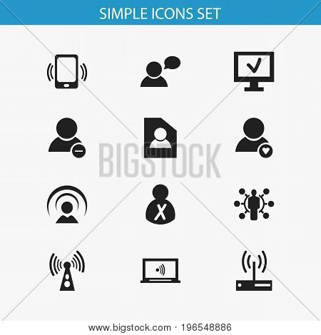 Set Of 12 Editable Network Icons. Includes Symbols Such As Delete Member, Monitor, Smartphone And More
