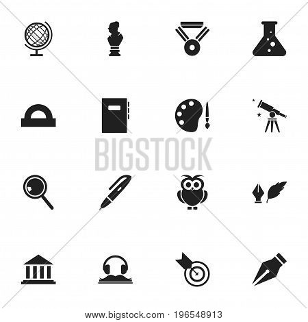Set Of 16 Editable Science Icons. Includes Symbols Such As Paint, Dartboard, Nib And More