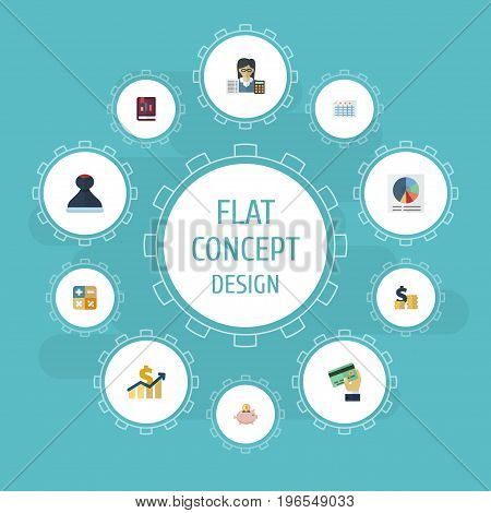 Flat Icons Pie Bar, Mark, Sheet And Other Vector Elements