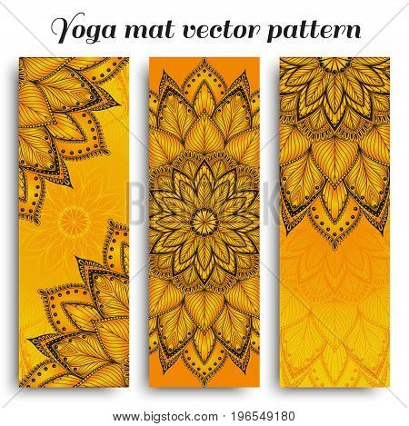 Set of orange yoga mat vector mandala pattern